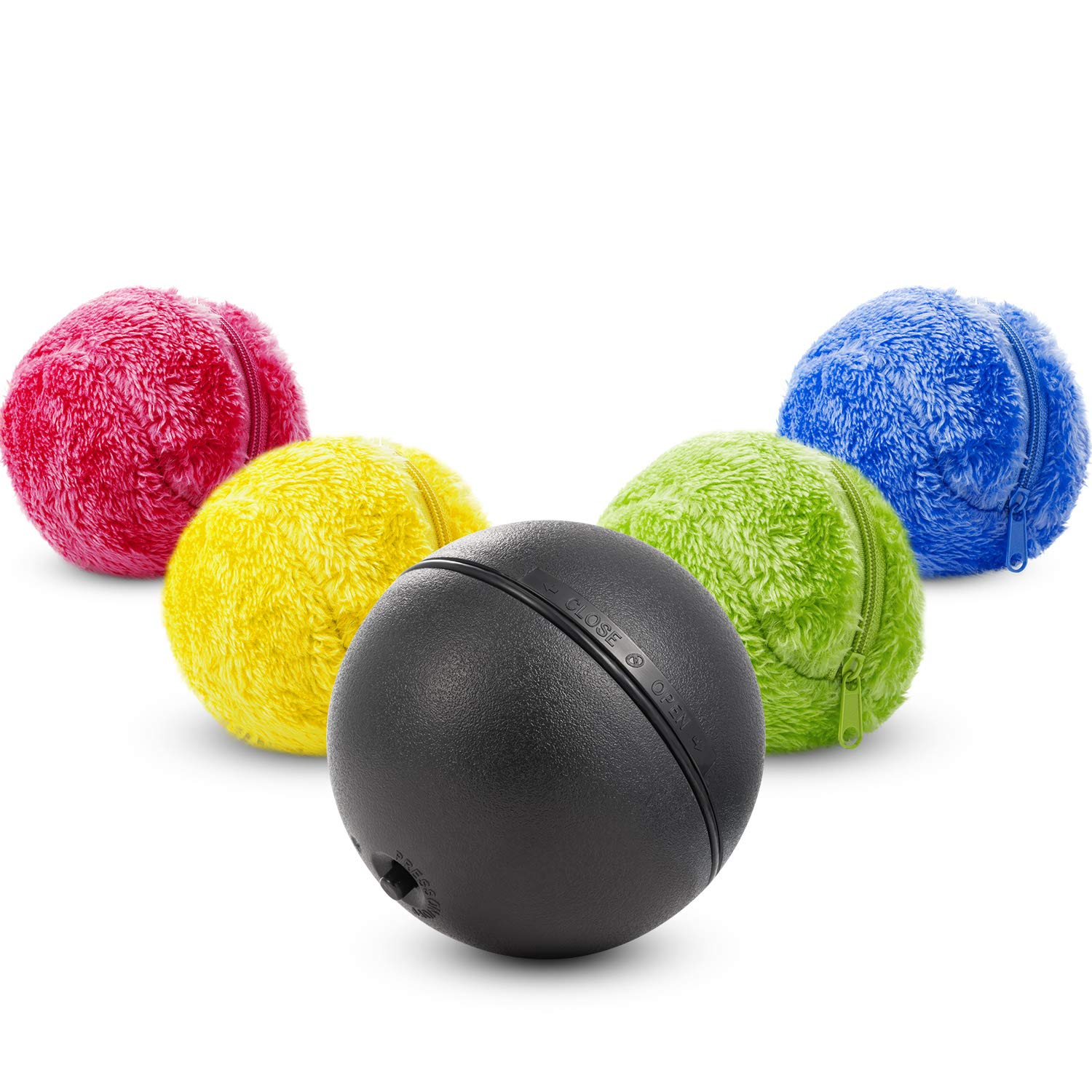 Boao Magic Roller Ball Toy, Dog Cat Automatic Roller Toys Ball with Rolling Ball and Colorful Cover Mini Robot Cleaner for Cleaning Home and Pet Interactive Toys (1 Set)