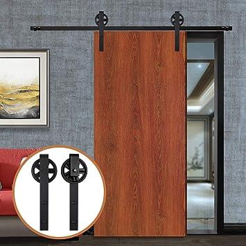 9.6FT/291cm Herraje para Puerta Corredera Kit de Accesorios para Puertas Correderas,Negro J-Forma Rodillos Grandes: Amazon.es: Bricolaje y herramientas