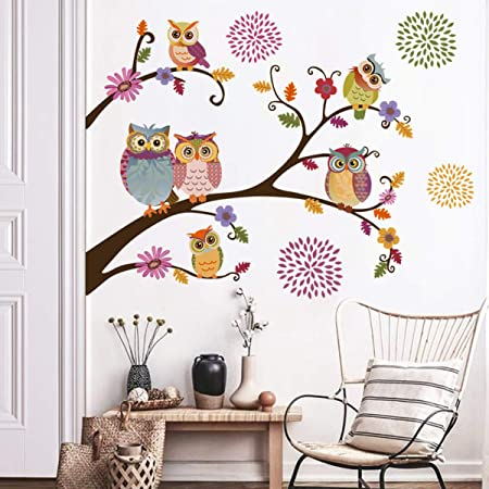 Decalmile Owl Tree Branch Wall Stickers Flower Wall Decals Kids Baby Nursery Bedroom Wall Decor Amazon Co Uk Kitchen Home