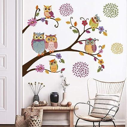 decalmile Wandtattoo Eule Bäume AST Wandsticker Blumen Wandaufkleber  Kinderzimmer Babyzimmer Schlafzimmer Wanddeko