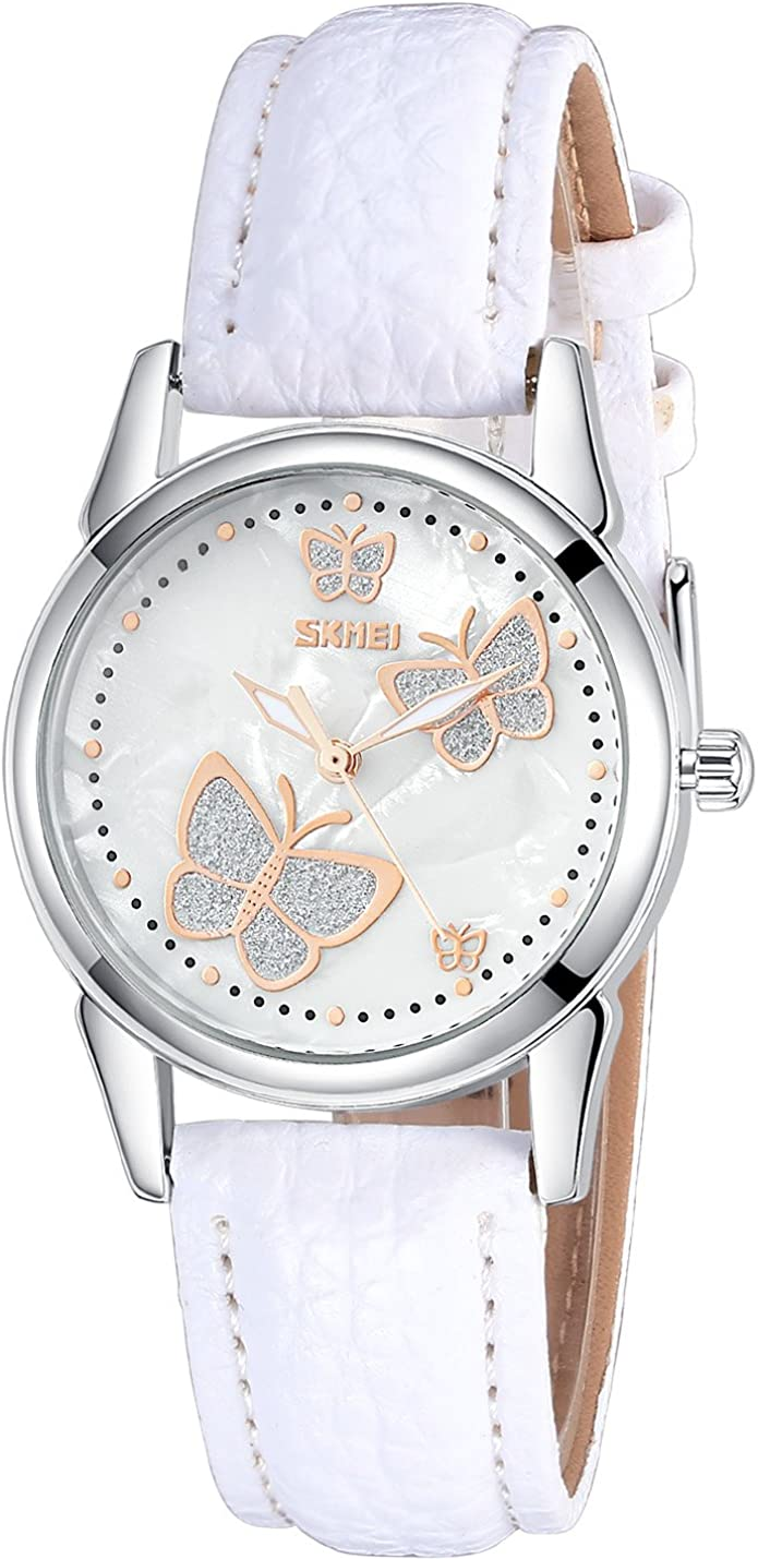 INWET Butterfly Women s Quartz Watch with Mother of Pearl Dial and White Leather Strap