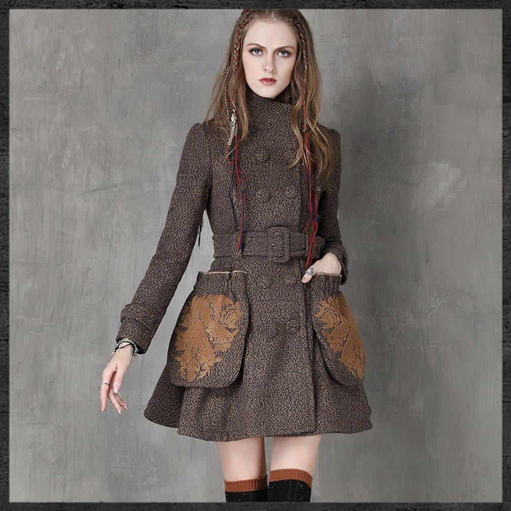 W coat Frauen 'S Winter Kragen Kragen Mantel Retro Gürtel Wollmantel