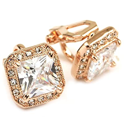 FC JORY White & Rose Gold Plated Square CZ Halo Princess Cut Solitaire Stud Clip On Earrings