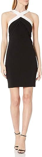 فستان كالفن كلاين بتصميم كتل وياقة هالتر للنساء