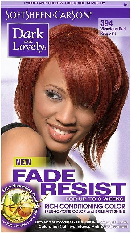 Dark and Lovely - Tinte para el cabello resistente a la decoloración y al desgaste, color rojo vivo 394