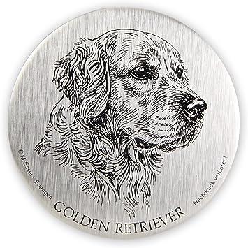 Schecker Selbstklebende Silberfarbene Metallplaketten Golden Retriever Golden Retriever Wetterfest Autoaufkleber Esser Haustier