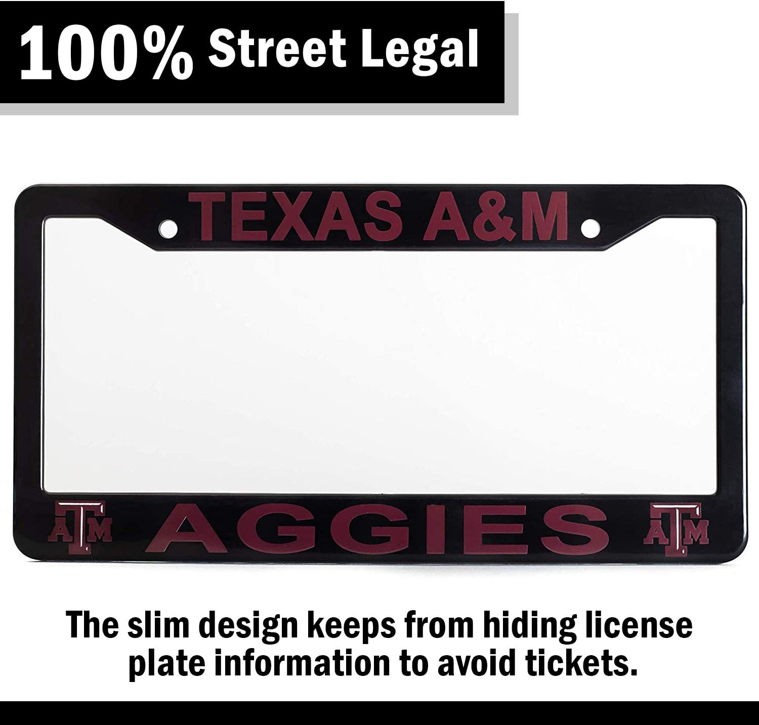 """Slim Design Black 12.25/"""" x 6.25/"""" Ideal Gift for Sports Fans /& Supporters NCAA Car Accessory EliteAuto3K Texas A/&M Aggies License Plate Frame Cover"""