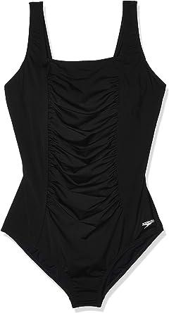 Speedo Womens One Piece Swimsuit-Shirred Tank Moderate Cut High Bra Support Black