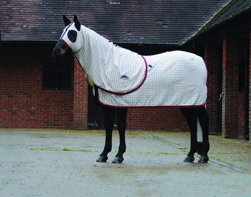 Navy Red Check Full Navy Red Check Full WEATHERBEETA Deluxe Trim Cotton Show Hood Navy RED Check Full Horse Rug