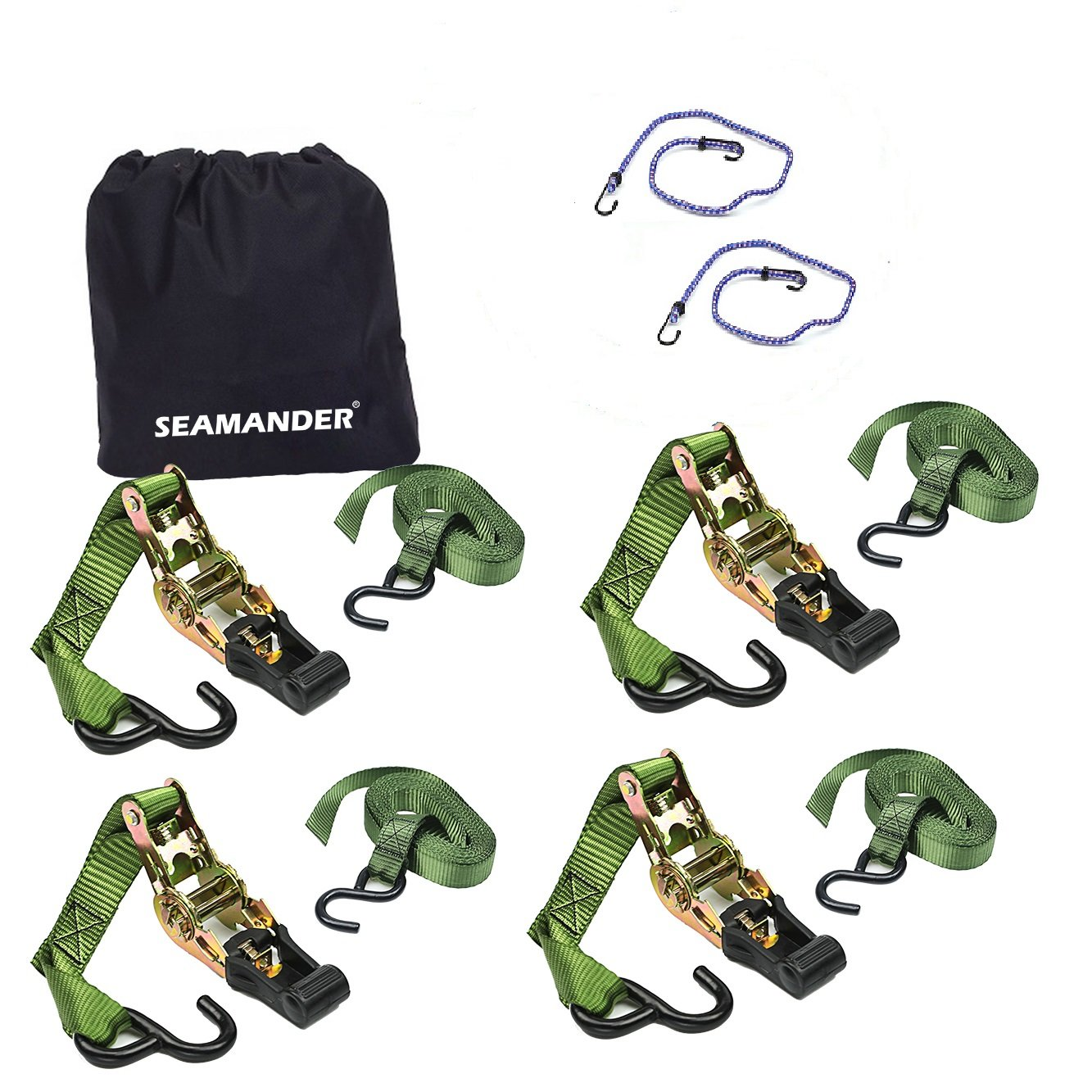 Seamander Ratchet Tie Down Straps 500 Load Capacity & 1, 500 Lbs Breaking Strength (4 Pack & 2 Bungee Cords)