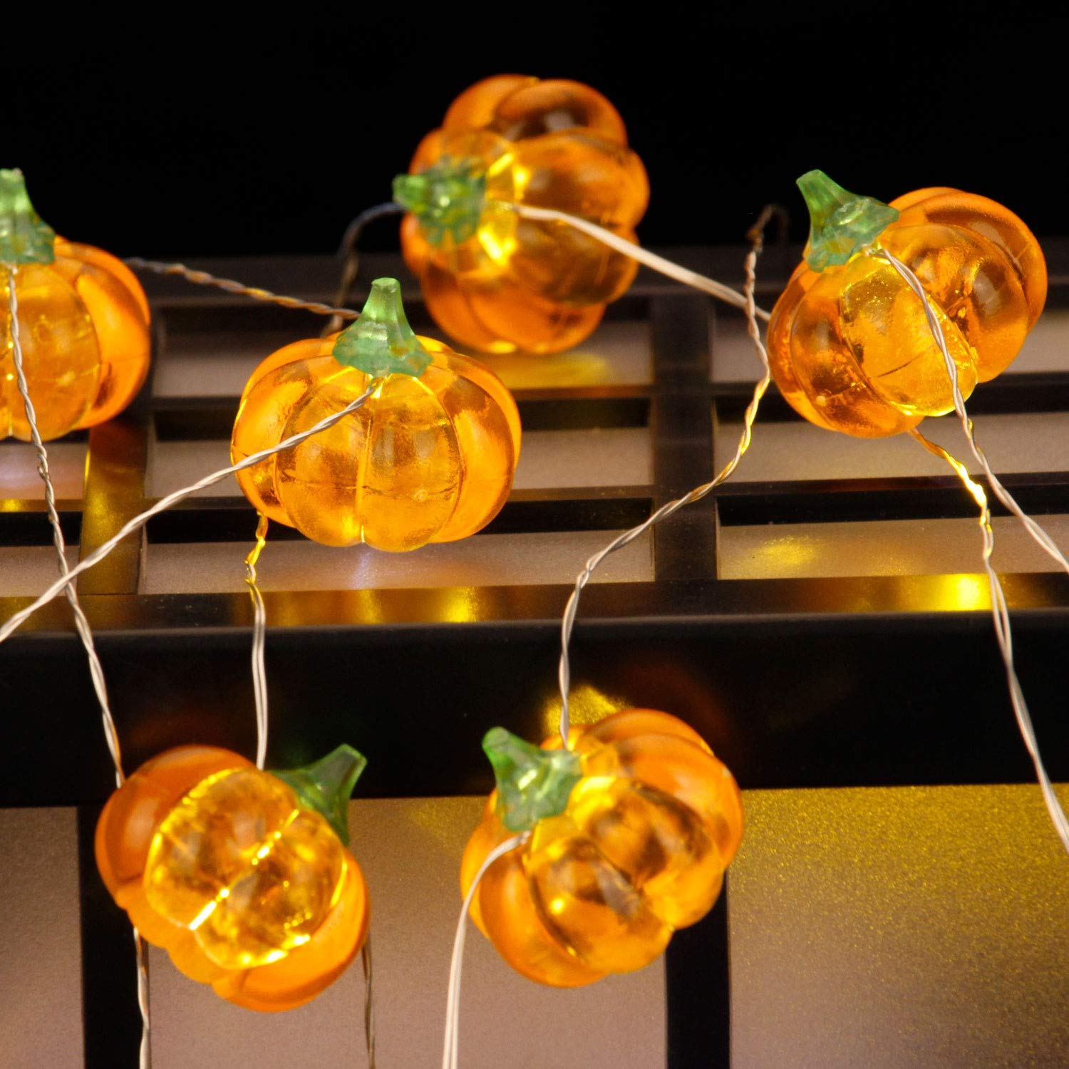 Harvest, Halloween Festive Lighting Decoraions, 3D Pumpkin Themed Timer String Lights, 10ft 20LEDs with Remote & Multi Flicker Mode, Ideas for House, Wedding, Cosplay, Birthday, Bedroom, Porch Decor