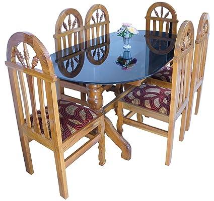 Timberwala Dandeli Teak Wood Sagwan 6 Seater Dinning Set Amazon