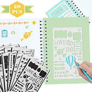 Scrapbook Supplies, 20Pack Journal Stencil Stencils for Kids Adults Stencil Stuff Kids Stencils Drawing Tool Templates