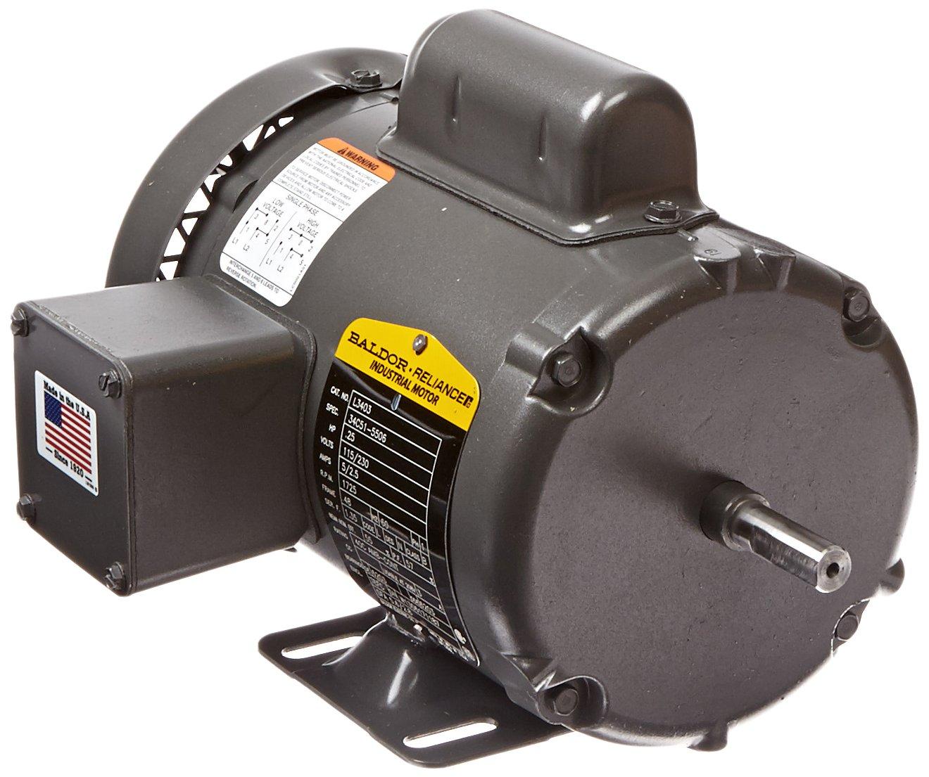 Baldor L3403 General Purpose AC Motor, Single Phase, 48 Frame, TEFC Enclosure, 1/4Hp Output, 1725rpm, 60Hz, 115/230V Voltage