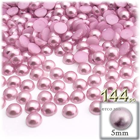 144 Pcs 8mm Acrylic Pearl NO HOLE Round Beads Imitation Pearl Color Pale Pink
