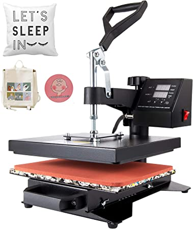 Amazon Com Co Z Heat Press Machine Professional 360 Swing Away T Shirt Press For Shirt Phone Case Mouse Pad Tote Bag Pillow Case Coasters Puzzles Tiles For Home And More 12x10 Inch Arts Crafts
