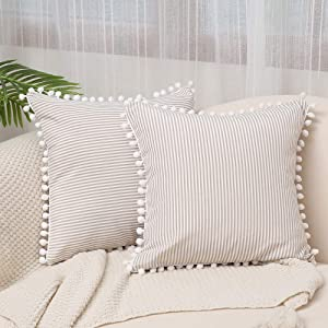 Kiuree Farmhouse Ticking Stripe Pillow Coverswith Pom Poms Set of 2 Black and WhiteOutdoor Decorative Throw Pillowcase Cushion Covers for Sofa Couch18x18Inch (16