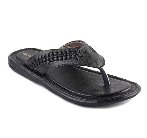 e740f0d10259 BERKINS Men s Synthetic Leather Latest Fashion Flip-Flops and House Slippers  (0SOD5005) Black