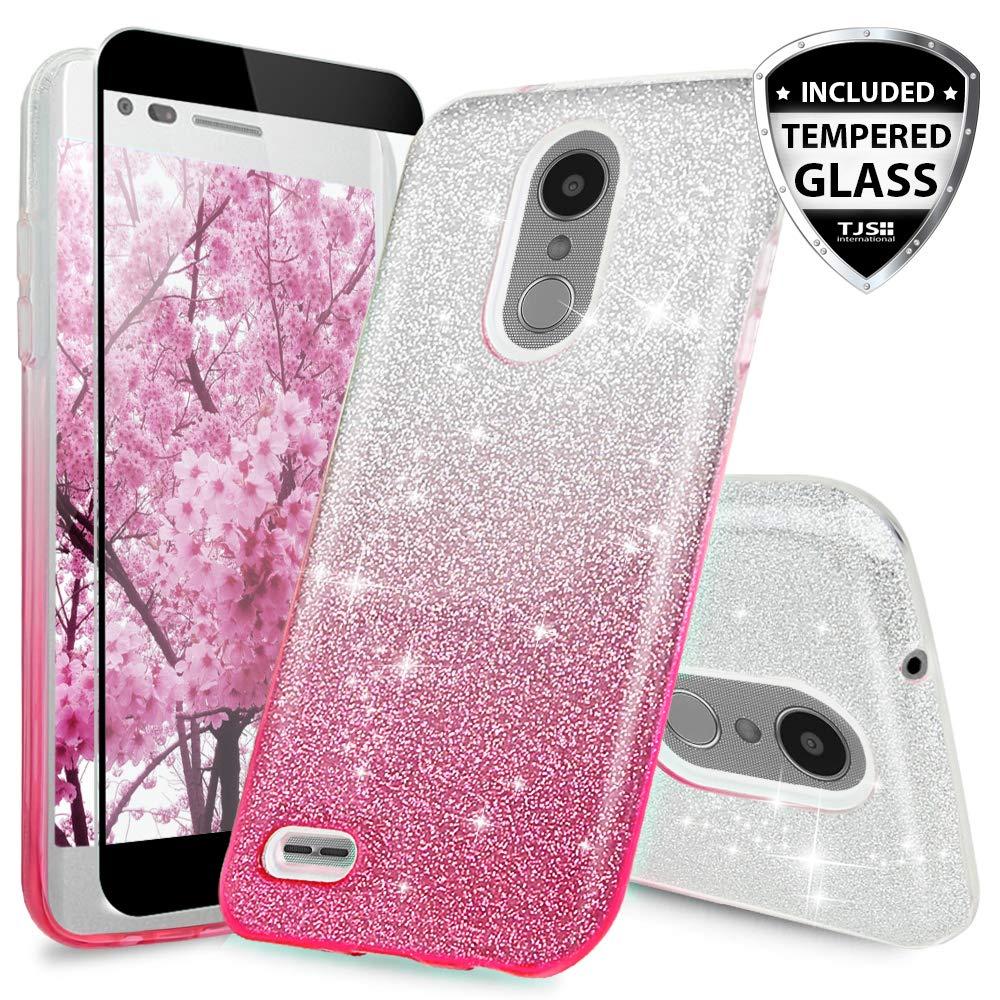 TJS Case for LG Aristo 2/Aristo 2 Plus/Aristo 3/Aristo 3 Plus/Tribute Dynasty/Tribute Empire/Fortune 2/Rebel 3 LTE [Full Coverage Tempered Glass Screen Protector] Glitter Paper Phone Cover (Pink)