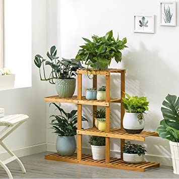 Étagère dans le salon Chambre Cuisine 4 Tiers Bambou Fleur / Plantes ...
