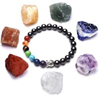 CrystalTears 7 Chakra w/Buddha Head Bead Hematite Magnetic Therapy Bracelet for Arthritis Pain Relief, with Raw Crystal Stones for Reiki,Healing,Yoga,Meditation