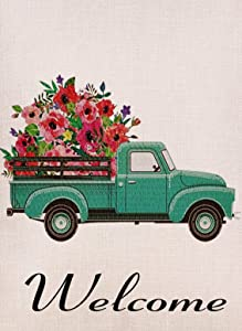 Selmad Home Decorative Vintage Floral Truck Garden Flag Double Sided, Burlap Flower Welcome Quotes Old Farm Pickup House Yard Decoration, Rustic Seasonal Outdoor Décor Flag 12.5 x 18 Spring Summer