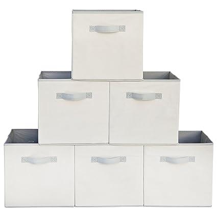 Attirant Squared Home Solutions Fabric Storage Cube Bins, Cream Gray (Set Of 6)