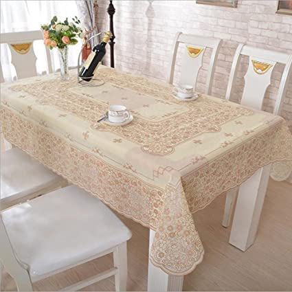 Fanjow PVC Gilding Tablecloth Heat Resistant Table Cover Oblong Table Runner Floral Oil-proof Waterproof & Amazon.com: Fanjow PVC Gilding Tablecloth Heat Resistant Table Cover ...