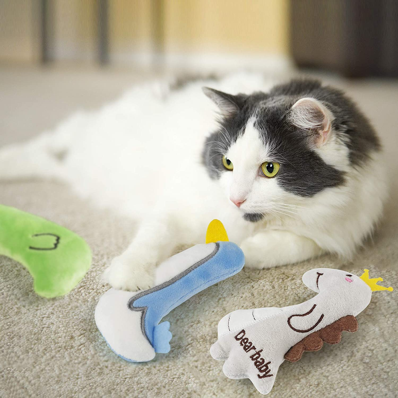 Dorakitten 5PCS Catnip Cat Toys Interactive Plush Cartoon Cat Toys Juguetes para Masticar para Gatito