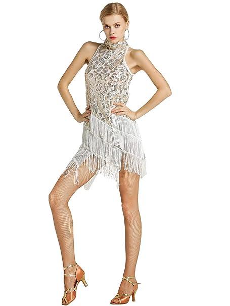 Zengbang Mujer Moda Lentejuelas Conjunto Traje de Baile ...