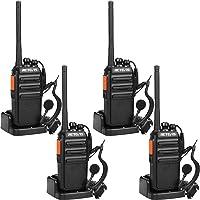 Retevis RT24 sans Licence Talkie Walkie Rechargeables PMR446 Radio Bidirectionnelle 16 Canaux 50CTCSS 210DCS avec Chargeur Européen et Écouteurs (Noir, 4 pcs)