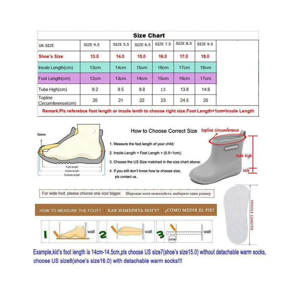 BAIYOU Kinder Gummistiefel Kinderschuh Baby Wasserdicht Schuhe Alter 2-6 Jahre
