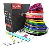 3D Pen Filament Refills - 1.75mm 594ft PLA Filament Pack of 18 Colors 32.8ft Each Color and Included Stencil&3D Drawing Board&Spatula