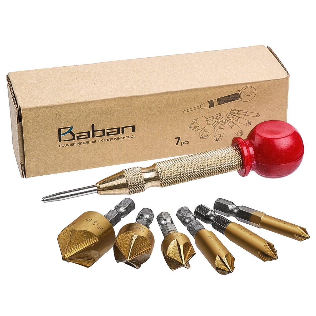 Countersink Drill Bit+Center Punch, Baban Countersink Drill Bit Set 6 Pcs 1/4'' Hex Shank HSS 5 Flute Countersink 90 Degree Center Punch Tool Sets For Wood Quick Change Bit 6mm-19mm