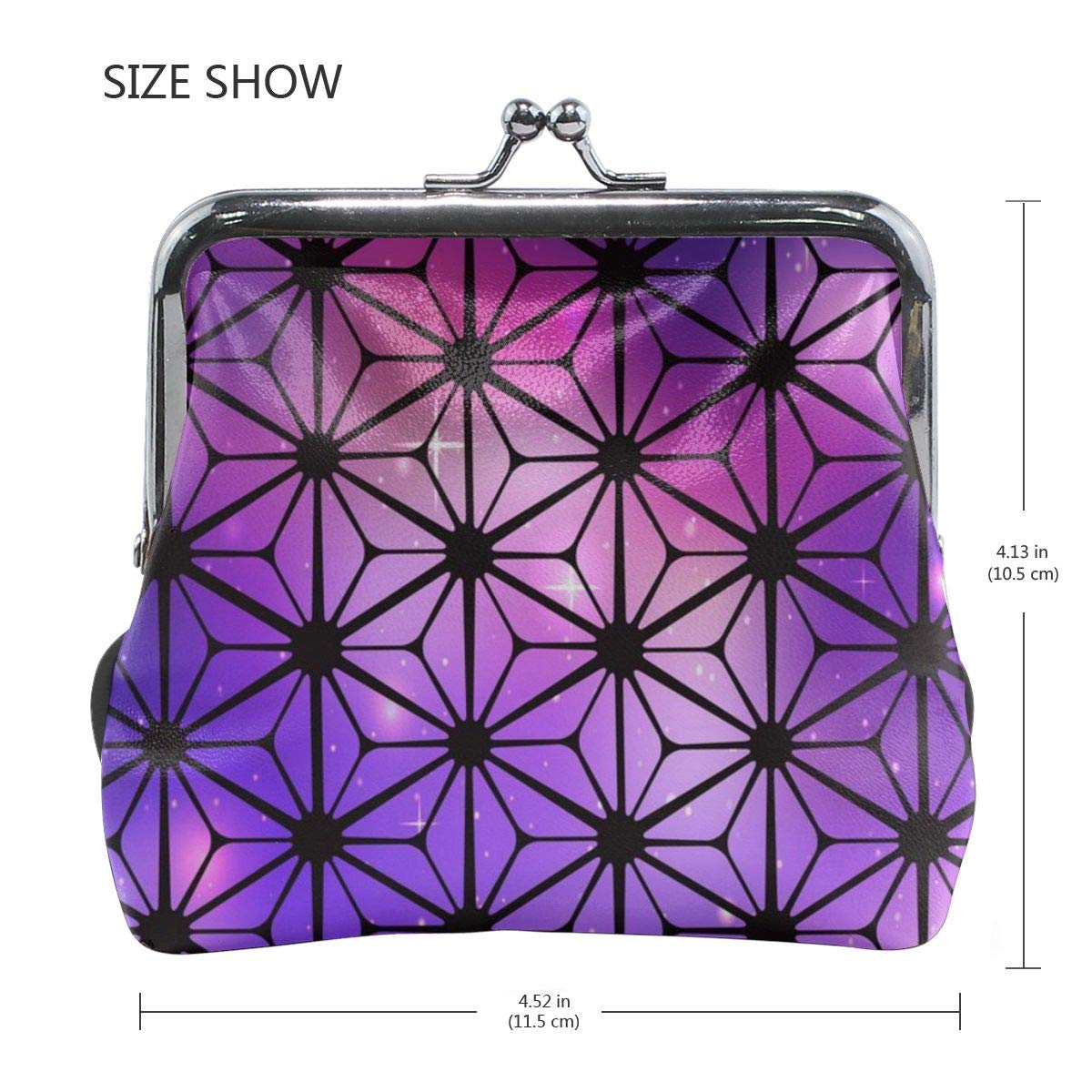 Poream Cosmic Stained Glass Background With Flowers Retro Leather Cute Classic Floral Coin Purse Clutch Pouch Wallet For Girls And Womens