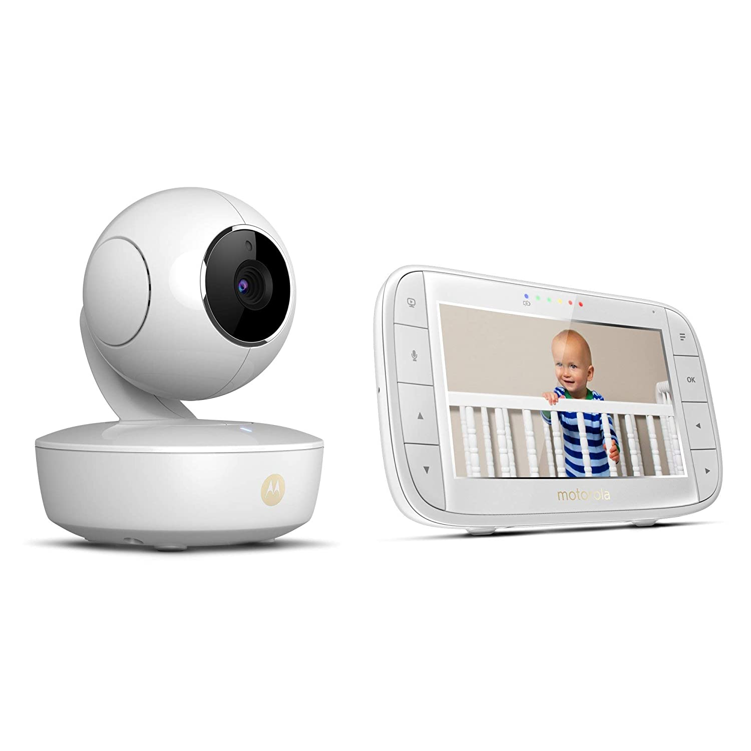 Exclusive Motorola Baby Bundle – MBP36XL Video Baby Monitor with 5 LCD Display Pan Tilt Zoom, Rechargeable Camera and MBP69SN Smart Ear Thermometer