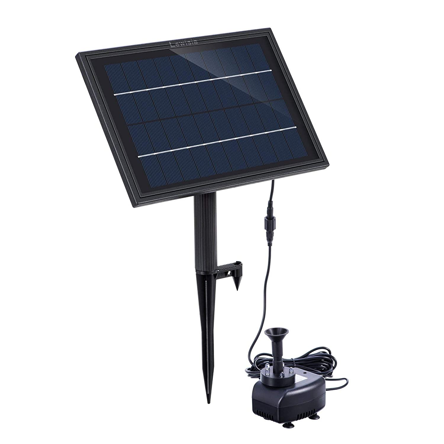 Lewisia Battery Backup Solar Fountain Pump with LED Lighting for Bird Bath Pool Garden Pond Submersible Solar Water Pump Kit 5W