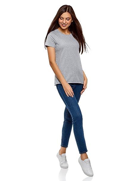 oodji Ultra Mujer Camiseta Básica de Algodón con Borde No Elaborado sin Etiqueta: Amazon.es: Ropa y accesorios