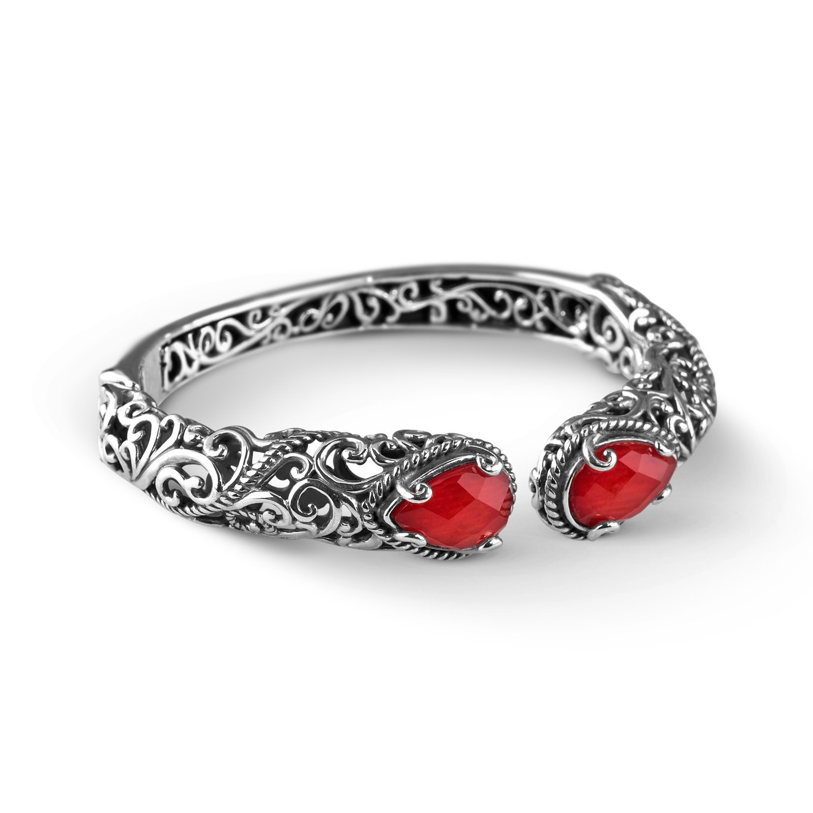Carolyn Pollack Signature Sterling Silver Red Coral Doublet Hinged Cuff Bracelet, Small
