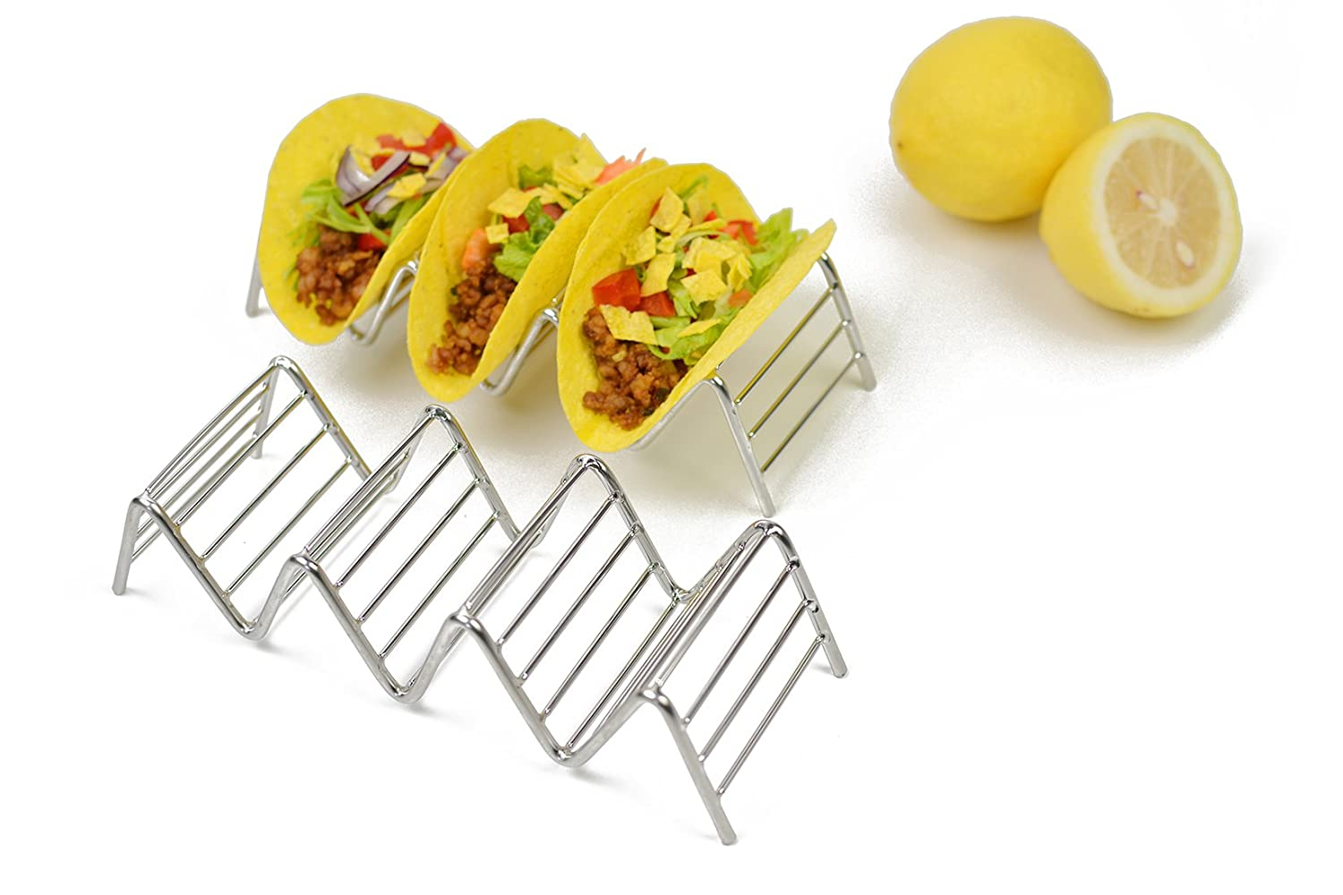 Taco Holder, HapWay 2 Pack Stainless Steel Taco Stand Mexican Food Rack Shells for Hard or Soft Shell Tacos (4 Stack Holder)