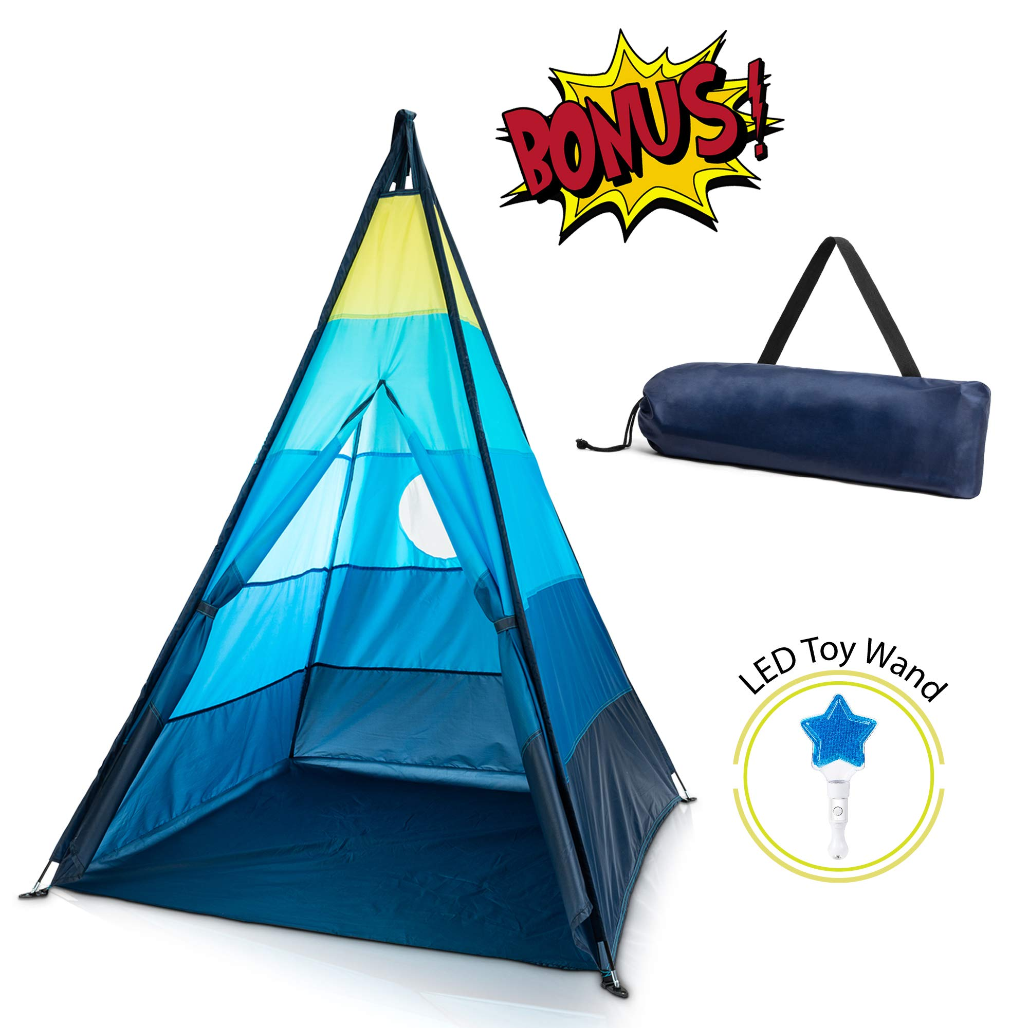 GiddyGo Kids Teepee Play Tent: Kid Teepee Tent for Boys or Girls with Easy 4 Pole Assembly, Skylight, Window, Carry Case and LED Light Wand Toy - Indoor / Outdoor Teepee Tents for a Toddler or Child