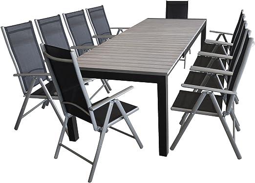 Multistore 2002 - Conjunto de muebles de jardín mesa extensible polywood 205/275 x 100 cm, 10 x respaldo alto, plegable, 7 posiciones ajustables, muebles de terraza: Amazon.es: Jardín
