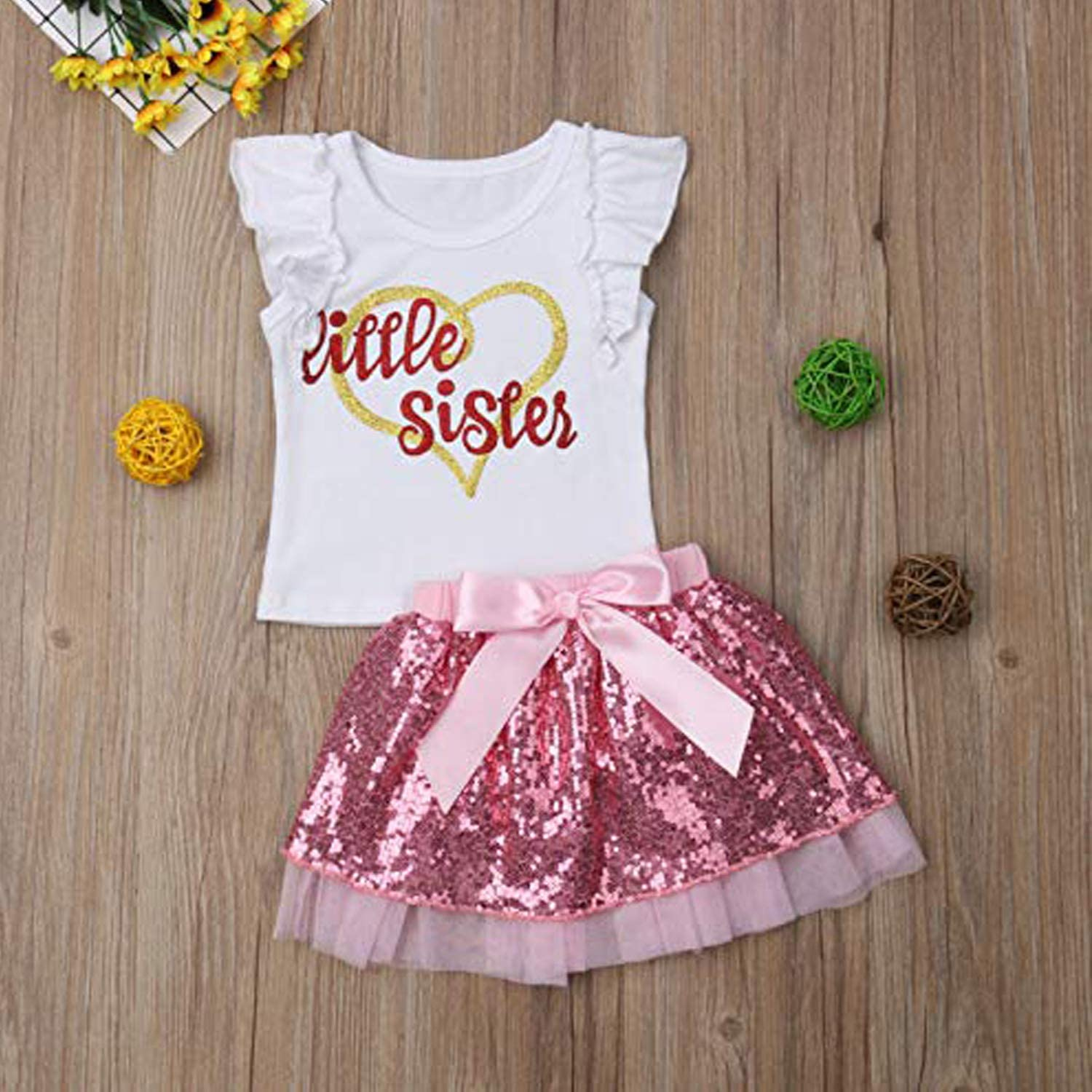 HESHENG Baby Girls 1st Birthday Floral Romper Top+Tutu Lace Skirt Dress 2Pcs Outfits Set