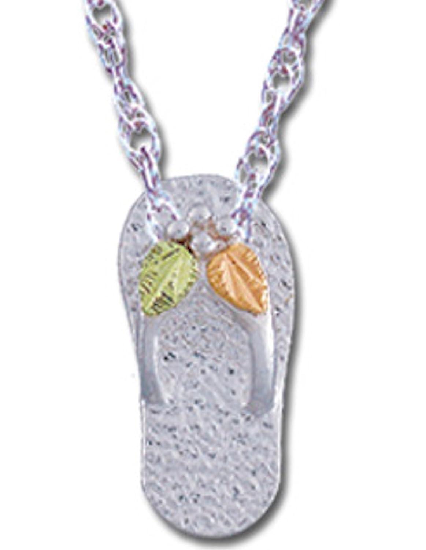 Black Hills Gold Silver Flip Flop Necklace
