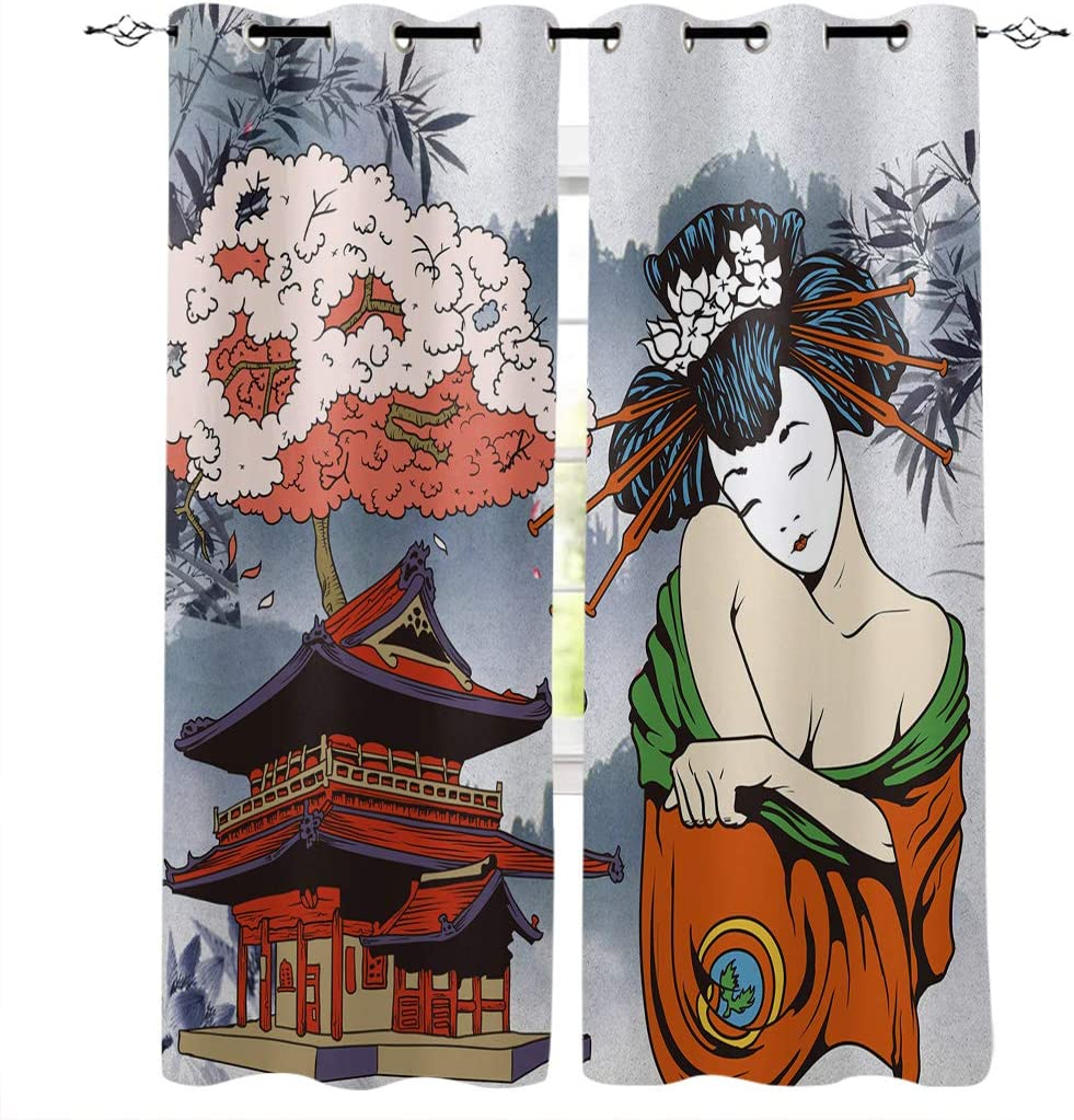 Asian Curtains for Living-Room 84 inches Long Printed Window Drapes for Bedroom Room Darkening Curtains for Bathroom Kitchen Grommet Top - Japanese Art Geisha Girl Traditional Style Background