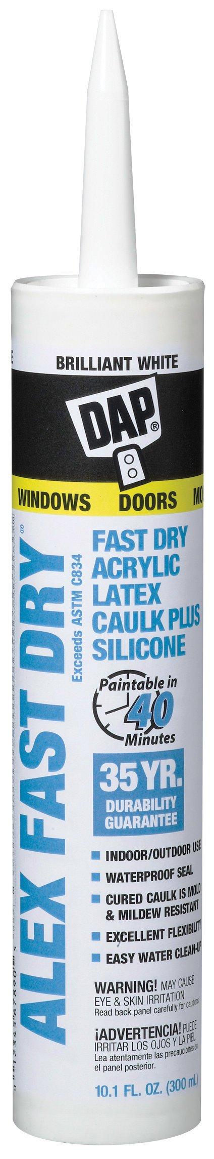 Dap Inc 18425 10.1 oz. Alex Fast Dry Acrylic Latex Caulk Plus Silicone - White by DAP