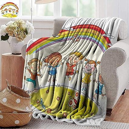 Amazon com: PearlRolan Flannel Throw Blanket,Rainbow,Kids