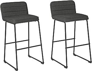 Signature Design by Ashley Tallenger Upholstered Swivel Bar Height Stool Set of 2, Gray, D225-230