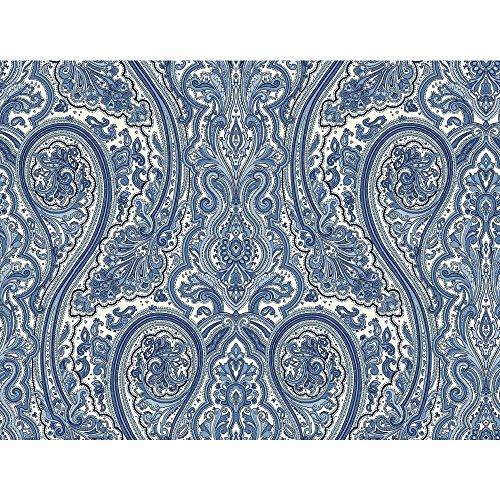York Wallcoverings NY4987SMP Nautical Living Paisley Wallpaper Memo Sample, 8-Inch x 10-Inch, White, Cobalt Blue, Sky Blue, Teal, Medium Blue, Black Cobalt Wallpaper