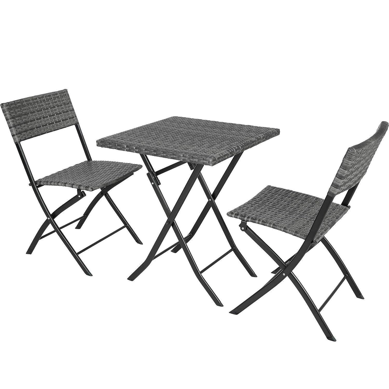 Nero   No. 403196 TecTake 800700 Set di Mobili in Rattan Disponibile in Diversi Colori con Protezione dai Raggi UV Ripiegabile 2 Sedie 1 Tavolo Giardino Terrazza Balcone